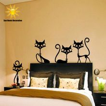 4 Black Fashion Wall Stickers Cat Stickers Living Room Decor Tv Wall Decor Child Bedroom Vinyl Home decor
