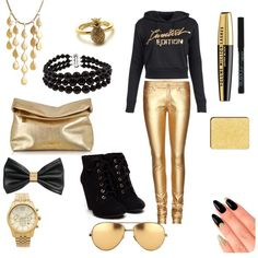 Black And Gold by savannahs-outfits on Polyvore featuring polyvore fashion style Yves Saint Laurent Michael Kors John Hardy Pearlz Ocean Juicy Couture Linda Farrow H&M shu uemura L'Oréal Paris House of Holland