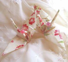 Sakura White Peace Crane Wedding Cake Topper Favor Origami Ornament Japanese Bird. $8.00, via Etsy.