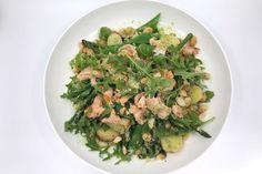 Creamy pesto potato salad with salmon