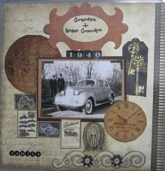 Grandpa and Great-Grandpa, 1940 ~ Masculine heritage page with vintage car ads, keys and clock face embellishments.