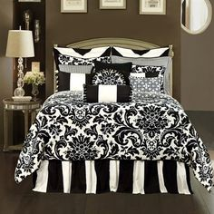 Black and white bedroom bedding, I have this pattern but backwards white on black. I like this one too...