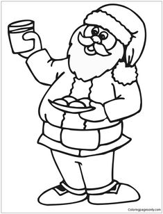 Santa Loves His Milk And Cookies On Christmas Eve Coloring Page