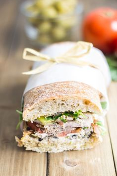 The best picnic sandwich ever! Made with roast chicken olive tapenade goat cheese & sweet pepperoncini then pressed to perfection! Picnic Sandwiches, Gourmet Sandwiches, Turkey Sandwiches, Wrap Sandwiches, Pan Bagnat, French Sandwich, Best Sandwich, Ciabatta, French Picnic