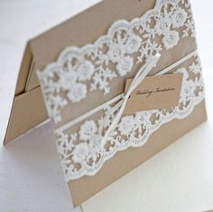 Lace wedding invitations - Rustic wedding invitations - pocketfold invites recycled kraft card SO pretty Pocketfold Invitations, Lace Wedding Invitations, Rustic Invitations, Wedding Stationary, Invitation Cards, Wedding Favors, Homemade Wedding Invitations, Invitation Ideas, Invites