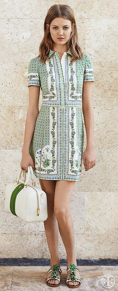 Embellish a day dress with beaded sandals — statement jewelry for your feet | Tory Burch Summer 2014
