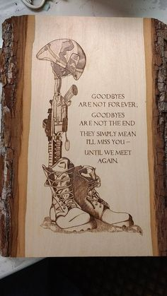 Amazingly detailed wood burning pyrography for fallen soldier. $6https://www.etsy.com/listing/521723397/fallen-warrior-fallen-soldier-plaque?ref=shop_home_active_15