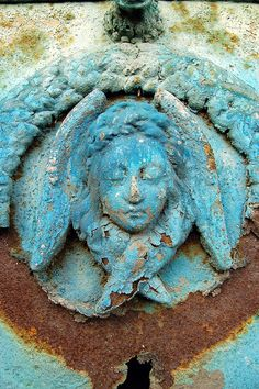 "ein-bleistift-und-radiergummi: ""Montparnasse Cemetery, Paris Created from three farms in the cemetery at Montparnasse was originally known as Le Cimetière du Sud. Cemeteries had been banned from. Cemetery Statues, Cemetery Art, Cemetery Angels, Ange Demon, Peeling Paint, Angels Among Us, Memento Mori, My Favorite Color, Shades Of Blue"