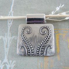 Fiddleheads, Artisan Handmade Jewelry, Fine Silver Fern Pendant, SilverWishes Original and Exclusive