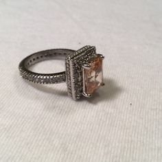 Selling this Sterling Silver FAS Peach Morganite Ring on Poshmark! My username is: kennjenn2010. #shopmycloset #poshmark #fashion #shopping #style #forsale #FAS #Jewelry