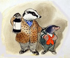 The Wind in the Willows: Badger and Mole investigate (Original) by Wind in the Willows (Mendoza) at The Illustration Art Gallery