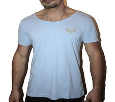 Blue Scoop Neck Mens T-shirts