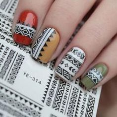 Just think of all the different ways you could use these Aztec nail wraps! They look good going either direction or with any color polish. Do a nail in all tribal print. Wear them different ways every