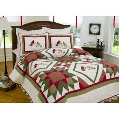 An extremely elegant embroidered design, our Cardinal Redwood collection is a lovely addition to your home. It has an intricately designed hand crafted patchwork pattern on white-cream fabric with accents of red and green. Elegant red and tan cardinals are centered within the diamond patterns . Perfect for a guest bedroom, statement wall decoration or as a gift for someone special.