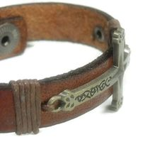 Brown Leather Bracelet  Mens Leather Bracelet with by epicetera