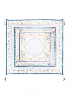 Kobi Scarf The Johnny Was Collection Signature Silk KOBI SCARF features a vintage-inspired print that combines Folk Art florals with geometric motifs in a feminine color palette of yellow, pink, and green. Try this printed silk scarf draped, knotted, or wrapped to add a boho luxe touch to any outfit!  - 100% Silk - Measures 43