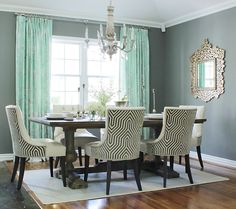 Before & After: This Dining Room Went from Blank Space to Glamorous in 5 Steps - Courtesy of High Fashion Home Dining Room Chair Covers, Dining Room Furniture, Dining Chairs, Dining Area, Small Dining, Fine Dining, Furniture Design, Dining Table, Nicole Miller