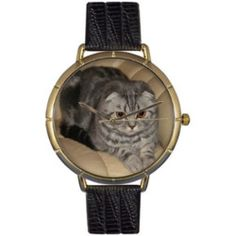 Whimsical Watches Womens N0120031 Scottish Fold Cat Black Leather And Goldtone Photo Watch
