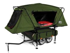 Bicycle Camper Trailer by Kamp-Rite developed specifically for bicycle touring and camping enthusiast. Bicycle Camper Trailer features an innovative oversized… Small Pop Up Campers, Tiny Camper, Popup Camper, Camping Survival, Camping Gear, Outdoor Camping, Outdoor Gear, Motorcycle Camping, Tent Camping