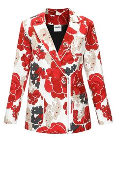Floral print double-breasted jacket  by Munkee See Munkee Do. Shop at: www.perniaspopupshop.com. #jacket #floral #MSMD #shopnow #perniaspopupshop #happyshopping