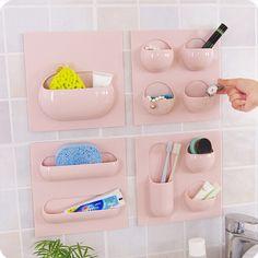 QUBABOBO Creative Bathroom Home Wall Stick Storage Box Wall Organizer Key Box Kitchen Organizer Sundries Holder 22*22cm
