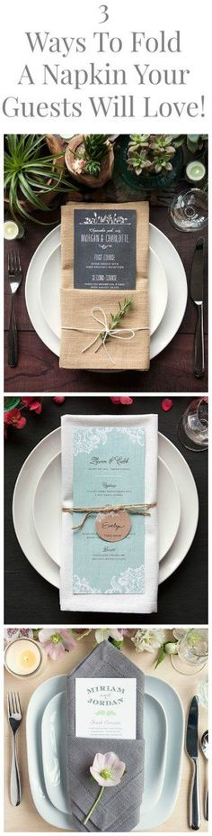 3 Great Ways To Fold A Napkin For Your Dinner Party or Wedding That Will Stun Your Guests folding ideas with menu card Wedding Napkins Trendy Wedding, Rustic Wedding, Wedding Reception, Wedding Catering, Wedding Dinner Menu, Boquette Wedding, Wedding Foods, Wedding Menu Cards, Wedding Rehearsal