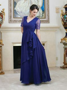 V-neck chiffon dress for mother of the bride with empire waist