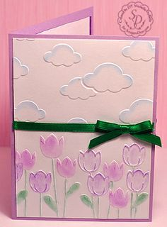 Image result for Cards made with Darice Embossing Folder Spring Tulips