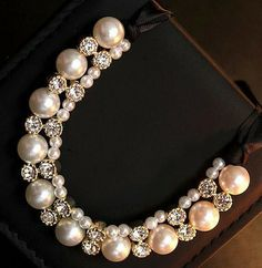 New Style Shiny Ribbon Simulated Pearl False Collar Necklaces