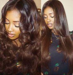 New hair color chocolate brown summer 32 ideas Chocolate Brown Hair Color, Brown Hair Colors, Weave Hairstyles, Girl Hairstyles, Fashion Hairstyles, Curly Hair Styles, Natural Hair Styles, Natural Looking Wigs, Brown Blonde Hair