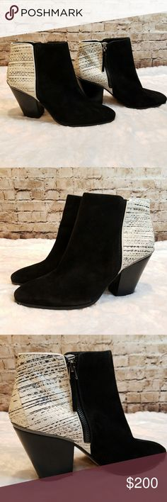 """NEW Dolce Vita Textured Black & White Booties New, in perfect condition I took stickers off the bottom, so that's the only possible mark Size 9.5 Black suede with a textured leather heel Inside zipper 3"""" heel Almond shaped toe Dolce Vita Shoes Ankle Boots & Booties"""