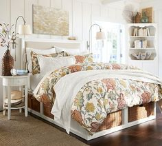 Pottery Barn Tuesday Tip! Designing a small bedroom? Bedding with a larger pattern will create the illusion of a grander space.