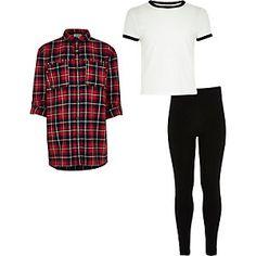 Rood geruit overhemd, T-shirt en legging voor meisjes