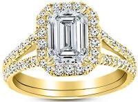 3 Ctw 14K Yellow Gold Split Shank Emerald Cut GIA Certified Diamond Engagement Ring