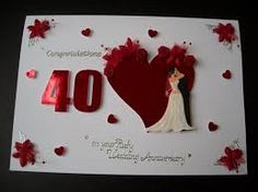 Ruby th wedding anniversary button heart card by gurdgifts