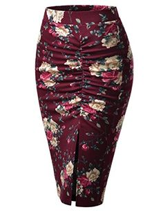 Nearkin Womens Figure Hugging Waistband Shirred Flowery Slit Midi Pencil Skirt Wine UK Size S) Short African Dresses, Latest African Fashion Dresses, Short Dresses, Elegant Dresses Classy, Chic Outfits, Fashion Outfits, Pencil Skirt Outfits, Clothes, Amazon
