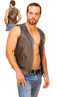 Dark brown leather vest for men. This western style cowhide leather vest features two front pockets, snap up front and lacing as available. #VM402RN
