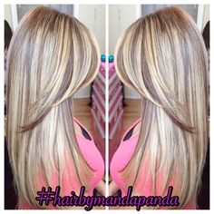 Full head heavy blonde ombré hilites.