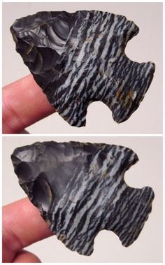 Ancient Illinois arrowhead of very unique banded flint. Indian Artifacts, Native American Artifacts, Native American History, Ancient Artifacts, Native American Jewelry, American Indian Art, American Indians, Flint Knapping