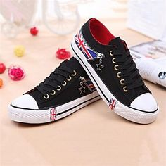 Women's Shoes Canvas Flat Heel Round Toe Fashion Sneakers Casual Black/Blue - USD $ 13.99
