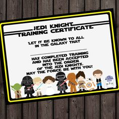 starwars jedi knight certificate jedi by amyssimpledesigns on etsy