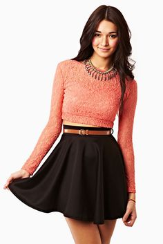 cropped sweater with skirt...if top was red, it would be great for a Christmas party