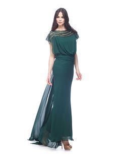 Abito da cerimonia Delsa, linea Ambra Cerimonia 2016 C9615 Chiffon e ricamo Colori: Verde scuro - Blu - Royal Blu -  Prugna