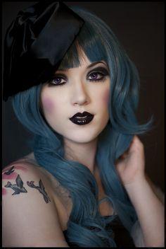 Blue pastel hair & gothic makeup