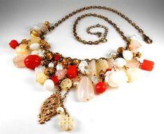Vintage Beaded Charm Necklace Faux stenen echte door hipcricket