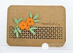 handmade card ... kraft .... die cut flowers and leaves = focal point ... luv the grillwork look of the band made with a Memory Box tile die ...