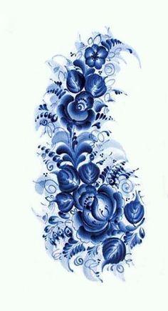 Folk Embroidery Ideas Folk Gzhel painting from Russia. Deco Floral, Motif Floral, Floral Design, Tole Painting, Fabric Painting, Flower Patterns, Flower Designs, Rosen Tattoos, Russian Folk Art