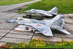 """Two fully armed MiG-29SMT on QRA """"Quick Reaction Alert"""" position Russian Air Force..."""