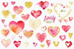 Lovely Arrows & Hearts. Watercolor by OctopusArtis on Creative Market