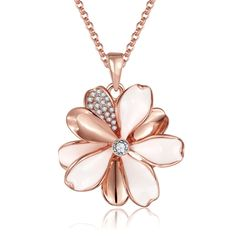 New Hot Fashion Rose Gold-Electroplated Exquisite Rhinestone Flower Pendant Necklace Fine Women Girl Jewelry Summer Style for Party Banquet Daily 18inches